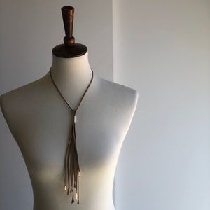 Jewelry - 3/$25 SALE Tan Leather Lariat Long Boho Necklace